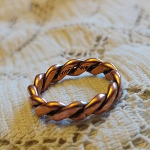 Signed copper swirl sz 6 vintage ring